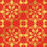 Flor oval da cruz do polígono da espiral chinesa dourada sem emenda do fundo Fotografia de Stock Royalty Free