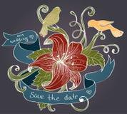 Flor, pássaros e fita Fotos de Stock Royalty Free