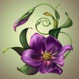Flor púrpura de la fantasía hermosa con las hojas verdes