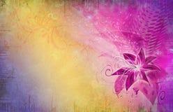 Flor púrpura en grunge ilustración del vector