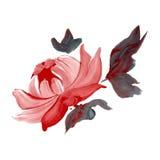 Flor pintada óleo ilustração stock