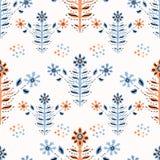 Flor popular Daisy Blooms de Boho no teste padrão bonito de Coral Blue Floral Seamless Repeating ilustração do vetor