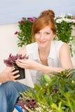 Flor potted de la mujer del redhead de la terraza del jardín del verano Imágenes de archivo libres de regalías