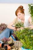 Flor potted de la mujer del redhead de la terraza del jardín del verano Imagen de archivo libre de regalías