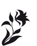 Silhueta preta da flor Fotos de Stock Royalty Free