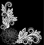 Flor preto e branco monocromática bonita do laço no canto Com espaço para seu texto Foto de Stock Royalty Free