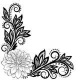 Flor preto e branco monocromática do laço no canto Com espaço para seus texto e cumprimentos Imagens de Stock