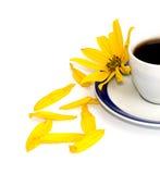 Flor, pétalos y fragmento amarillos de una taza sobre el café, isolat Foto de archivo