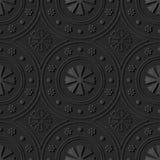flor redonda de Dot Line Frame da arte 3D de papel escura Fotografia de Stock Royalty Free