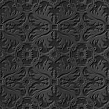 Flor redonda de la cruz de la hoja del modelo 235 de papel oscuros elegantes inconsútiles del arte 3D Fotos de archivo libres de regalías