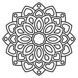 Flor redonda decorativa da garatuja isolada no fundo branco Mandala preta do esboço Imagens de Stock