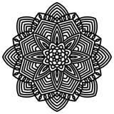 Flor redonda decorativa da garatuja no fundo branco Mandala preta do esboço Imagem de Stock