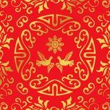 Flor redonda do pombo do quadro da espiral chinesa dourada sem emenda do fundo Foto de Stock Royalty Free