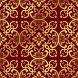 Flor redonda do quadro da cruz da curva do fundo chinês dourado sem emenda Foto de Stock