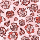 Flor retro Rose Buds Seamless Vetora Pattern ilustração royalty free