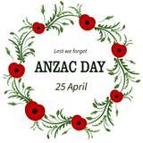 Flor roja de la amapola Anzac Day, marco floral Poppy Wreath Segunda Guerra Mundial, primera guerra mundial Día de la conmemoraci stock de ilustración