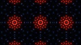 Flor roja del caleidoscopio rojo azul y el brillar intensamente de la mandala del extracto ilustración del vector