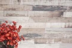 Flor roja en el fondo de madera con el espacio de la copia Foto de archivo libre de regalías