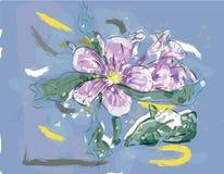 Flor rosada del jazmín en acuarela Foto de archivo libre de regalías