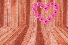 Flor rosada del zinnia del corazón y madera marrón Foto de archivo libre de regalías