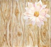 Flor rosada escénica en un fondo de tableros de madera handmade Imagen de archivo libre de regalías
