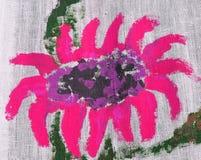 Flor rosada pintada en la tela de lino foto de archivo libre de regalías