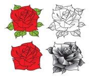 Flor Rosas en estilo del tatuaje Fotografía de archivo