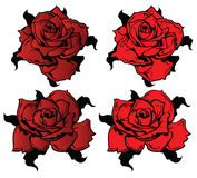 Flor Rosas en estilo del tatuaje Fotos de archivo libres de regalías