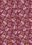 Flor roxa de Juhua com teste padrão do fundo das folhas Imagem de Stock