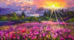 Flor roxa do cosmos da pintura a óleo colorida abstrata ilustração do vetor