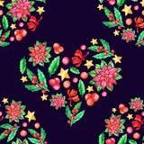 Flor sem emenda da aquarela do teste padrão da poinsétia do Natal, bagas do azevinho, ilustração stock