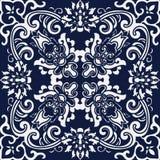 Flor transversal espiral botânica do fundo japonês azul sem emenda Fotografia de Stock