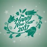 Flor verde de la Feliz Año Nuevo 2017 Imagen de archivo libre de regalías