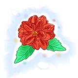 Flor vermelha, aquarela de imitação Fotos de Stock Royalty Free