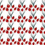 Flor vermelha do teste padrão no vetor branco do fundo Fotos de Stock