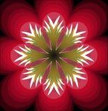 Flor vermelha plástica da fantasia com pistilo branco Flor multicamada Forma vermelha estilizado do flourish Sumário simétrico da Fotografia de Stock Royalty Free