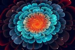 Flor vibrante del fractal en fondo cinemático del extracto del estilo stock de ilustración
