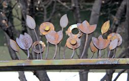 Flor vieja y oxidada del metal Foto de archivo libre de regalías