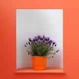 Flor violeta da decoração no potenciômetro alaranjado Imagem de Stock