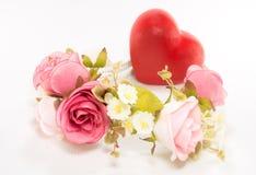 Flor y corazón Foto de archivo libre de regalías
