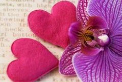 Flor y corazones de la orquídea Foto de archivo libre de regalías