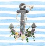 Flor y cuerda en el ancla Imágenes de archivo libres de regalías
