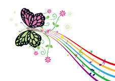 Flor y música ilustración del vector