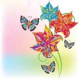 Flor y mariposa hermosas Foto de archivo libre de regalías