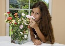 Flor y muchacha Fotografía de archivo libre de regalías