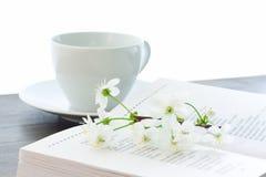 Flor y taza de cereza del libro Imagen de archivo libre de regalías