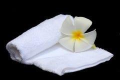 Flor y toalla blancas del Frangipani Fotografía de archivo libre de regalías