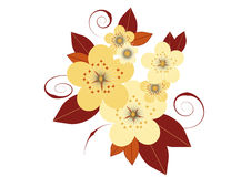 Flora. Composition of stylized flowers and leaves in beige and brown on a white background Royalty Free Stock Image