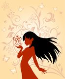 Flora. L woman silhouette vector illustration Royalty Free Stock Images