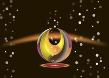 Flora abstraction on a black background with bubbles. In a round shape in 3dn vector illustration